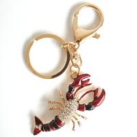 卡通可爱仿真小龙虾镶钻汽车钥匙扣包吊坠挂件创意礼品情侣钥匙链 红色 小龙虾+白钻