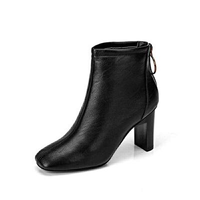 2018秋冬季新款英伦风方头皮靴粗跟高跟鞋子女士后拉链短靴马丁靴真皮