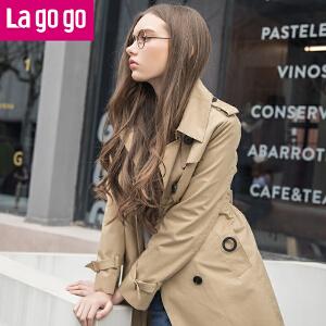 Lagogo/拉谷谷2018年春季新款时尚双排扣口袋长袖风衣HAFF132M29