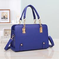 欧美女包链条单肩斜挎包时尚女士贝壳包手提包女大包 蓝色