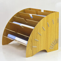 办公室桌面文件夹收纳盒多层书桌整理神器A4资料打印纸木质置物架