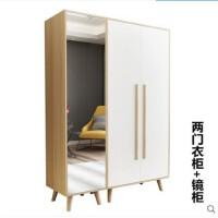 北欧经济型简易大衣柜木质板式组装简约现代家用三门四门组合衣橱 2门 组装
