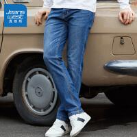 [每满400减150]真维斯男装 2018秋季新款 基本五袋款紧身牛仔裤