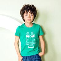 【12月9日开抢 3件3折价:35】水孩儿souhait夏季新款男童时尚印花短袖T恤AQAXM597