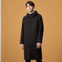 【2件1.5折价:160.4,26日0点可叠券】美特斯邦威大衣男冬季时尚潮流舒适男款连帽呢大衣