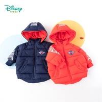 【2件3折到手价:94.5】迪士尼Disney童装 男童可拆卸连帽棉服冬季新品帅气麦昆印花外套儿童中长款衣服194S1