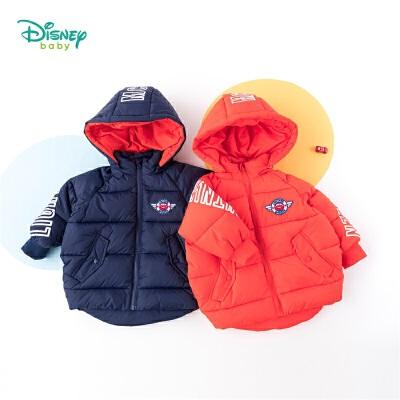 【2件3折到手价:94.5】迪士尼Disney童装 男童可拆卸连帽棉服冬季新品帅气麦昆印花外套儿童中长款衣服194S1181 时尚的面包服款式,内夹仿丝棉保暖