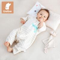 威尔贝鲁(WELLBER) 婴儿睡袋彩棉宝宝七分袖分腿睡袋春秋薄款