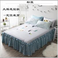 大版花全棉床裙式床罩纯棉床单防滑床裙1.5被单韩式卡通1.8床床盖上新