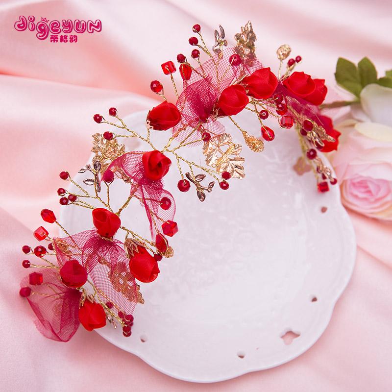 六一公主演出发箍配饰儿童发饰红色女童花朵发夹头饰发箍