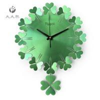 创意挂钟客厅现代静音幸运草金属钟表四叶草石英钟卧室时钟挂表