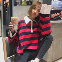 条纹polo领卫衣女春季2018新款韩版学院风百搭宽松显瘦长袖上衣潮