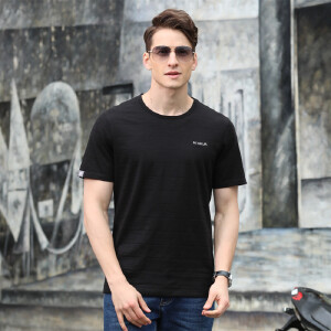 718夏装新款吉普盾男士商务休闲宽松条纹短袖T恤衫 纯棉弹力polo