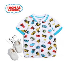 【促】托马斯正版童装男童夏装2018夏季新款全棉短袖圆领满印T恤