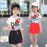 女童连衣裙套装夏装新款儿童时髦洋气两件套中大童时尚潮衣