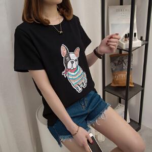 2018夏装韩国东大门ulzzang卡通狗短袖女T恤亮片打