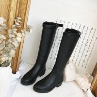 秋冬新款靴子皮靴女长靴单靴粗跟平底加绒高筒骑士靴长筒马靴SN3526