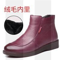 ����鞋女冬季加�q保暖短靴真皮中老年棉鞋牛筋底短筒靴子中年女鞋SN7794