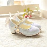 夏女童水晶单鞋小童高跟童鞋公主鞋韩版时尚儿童学生皮鞋