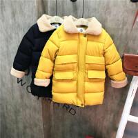 韩版童装新款冬季男童女童中长款加厚羽绒棉保暖外套B9-T37