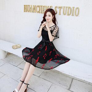 蕾丝连衣裙夏装2018新款女韩版超仙收腰夏季气质短袖女装网纱裙子