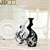 景德镇家居装饰品现代工艺品客厅电视柜陶瓷花瓶黑白花插居家摆设 牛腿花瓶(白大黑小)一对