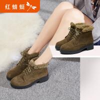 【红蜻蜓领�涣⒓�150】红蜻蜓真皮马丁靴短筒靴年冬季新款新品休闲朋克女短靴