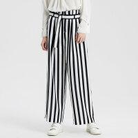 【1件2折到手价:109.8】MECITY女装夏新品时髦条纹撞色腰带收腰休闲裤