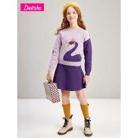 【3件2折价:79】笛莎童装女童套装2021春装中大童儿童休闲洋气时髦针织网红裙子潮