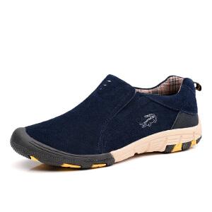卡帝乐鳄鱼秋季男鞋真皮登山鞋懒人鞋户外运动休闲鞋潮流时尚鞋子