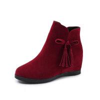 2018新款冬季英伦风内增高流苏短靴女学生加绒保暖雪地靴坡跟女鞋