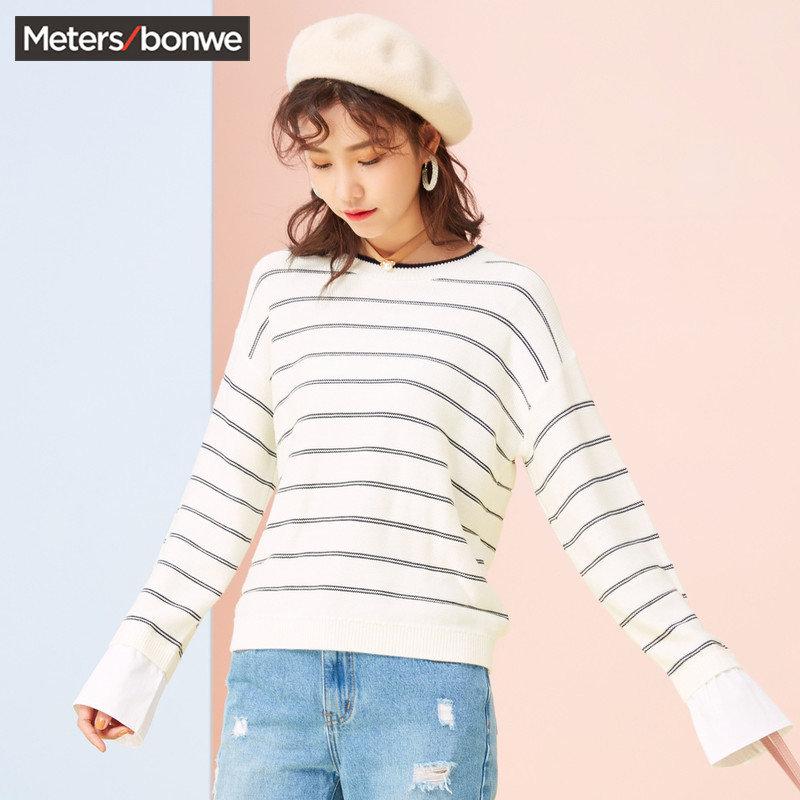【2件3折到手价:44.7】美特斯邦威针织衫女春装新款休闲衬衫袖口条纹长袖毛衫商场款