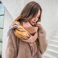 双面格子围巾女冬季春秋披肩两用保暖针织围脖