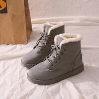 雪地靴女2018新款冬季学生加绒短靴百搭韩版保暖棉鞋马丁靴女短筒