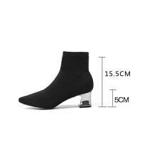 秋天靴子女2018新款粗跟中筒靴尖头袜子短靴高跟毛线袜短筒弹力靴