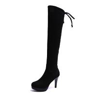 高跟细跟过膝长靴细跟韩版尖头百搭长筒靴2018新款秋冬季高筒靴女真皮 黑色加绒
