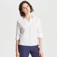 【1件3折价:68.7,可叠券】纯棉MECITY女装夏小清新独特袖口梭织V领衬衫