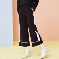 【每满100减50】美特斯邦威2018春装新款复古条纹运动阔腿裤休闲裤女显瘦百搭韩X