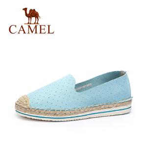 Camel/骆驼女鞋 甜美透气平底编织渔夫鞋 舒适乐福鞋