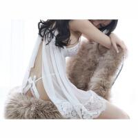 白色仙女范儿性感睡衣蕾丝薄纱女夏睡裙蕾丝情趣两件套 均码