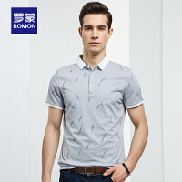 Romon/罗蒙短袖t恤男士中青年夏季商务polo衫薄款修身翻领男T恤衫
