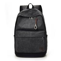 男包双肩包帆布旅行包大容量韩版休闲男士背包包初高中大学生书包 黑色 F016
