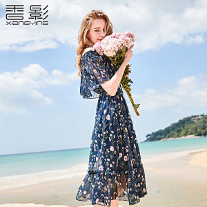 一字肩连衣裙女香影2018夏季新款花边拼接收腰印花裙沙滩雪纺裙