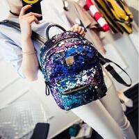 女包新款亮片双肩包韩版百搭小背包休闲旅行包学生书包女个性背包 炫彩紫 大号
