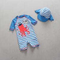 儿童泳衣男童宝宝婴儿连体防晒防紫外线游泳衣条纹冲浪服套装 天蓝条纹男童大章鱼
