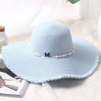 春季帽子新款遮阳帽女士防晒太阳帽韩版海边度假草帽户外潮大沿帽 M款可调节(56-58cm)