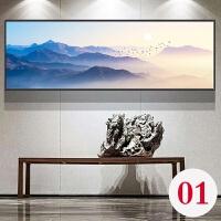 新中式装饰画现代抽象客厅壁画横版餐厅巨幅中国风背景挂画大尺寸