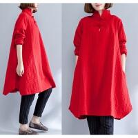 加肥加大码女装秋冬连衣裙显瘦胖mm中长款夹棉加厚打底衫藏肉卫衣 红色