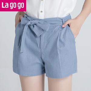 【清仓3折价89.7】Lagogo2019夏季新款小清新系带裤子蓝色时尚学院风韩版休闲短裤女HAKK135A41