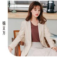 黑色修身网红小西装女春季2019新款棉立方短款时尚气质西服外套